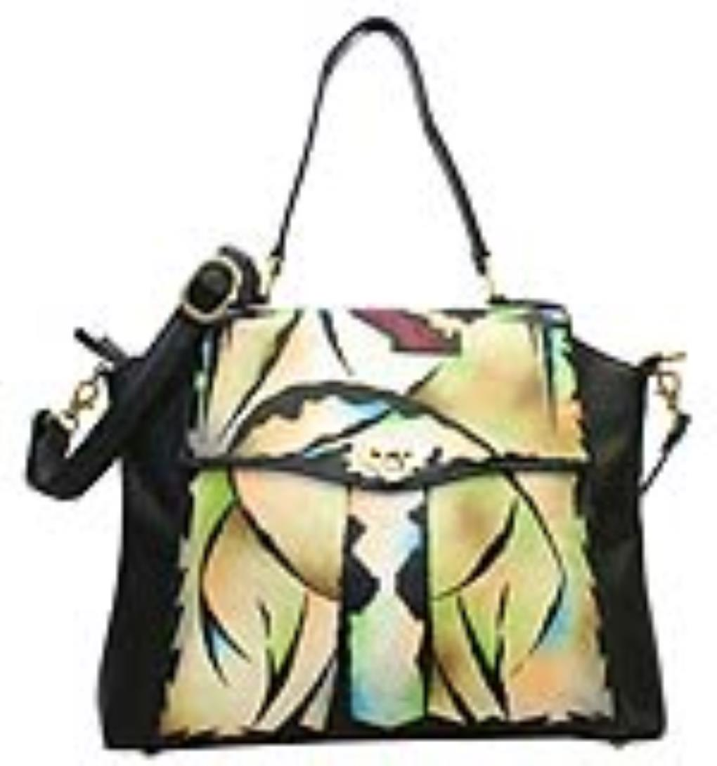 Home Magnifique Bags Handpainted Purses Black Mylar Art Leather Hand Painted Handbag