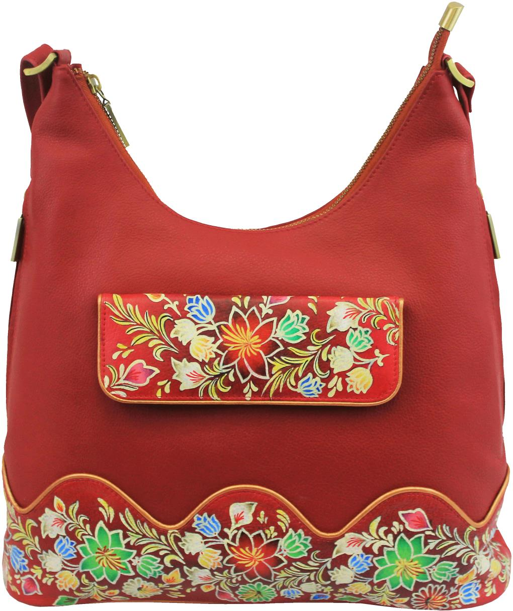 6324c49dfb Hand painted shoulder bag with easy access border flap - Sylvias ...